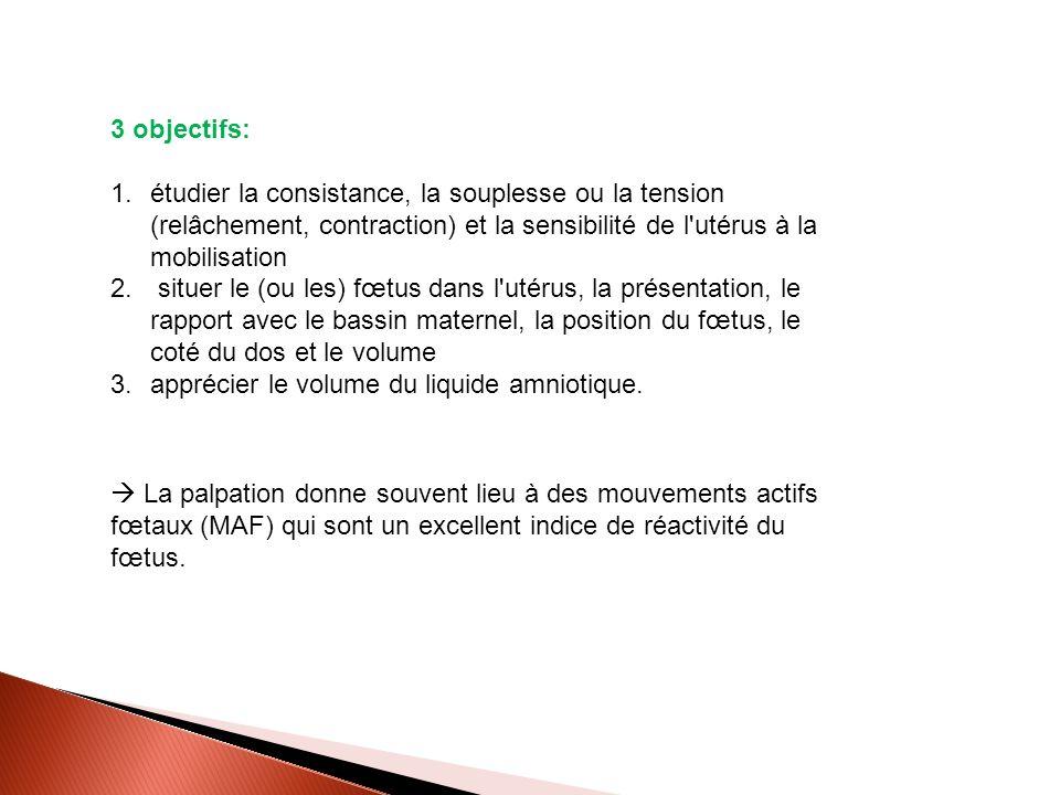3 objectifs: 1.étudier la consistance, la souplesse ou la tension (relâchement, contraction) et la sensibilité de l'utérus à la mobilisation 2. situer