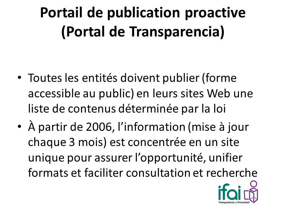 Portail de publication proactive (Portal de Transparencia) Toutes les entités doivent publier (forme accessible au public) en leurs sites Web une list