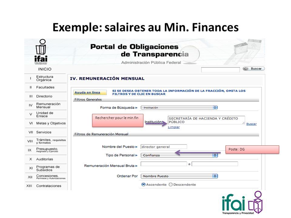 Exemple: salaires au Min. Finances Rechercher pour le min.fin Poste: DG