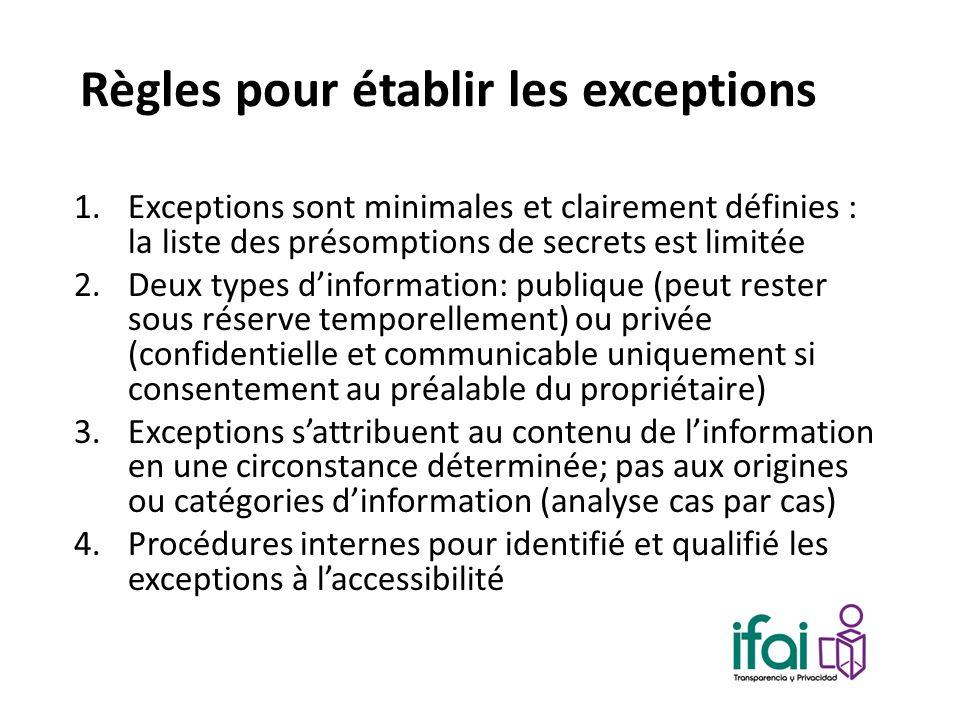 Règles pour établir les exceptions 1.Exceptions sont minimales et clairement définies : la liste des présomptions de secrets est limitée 2.Deux types