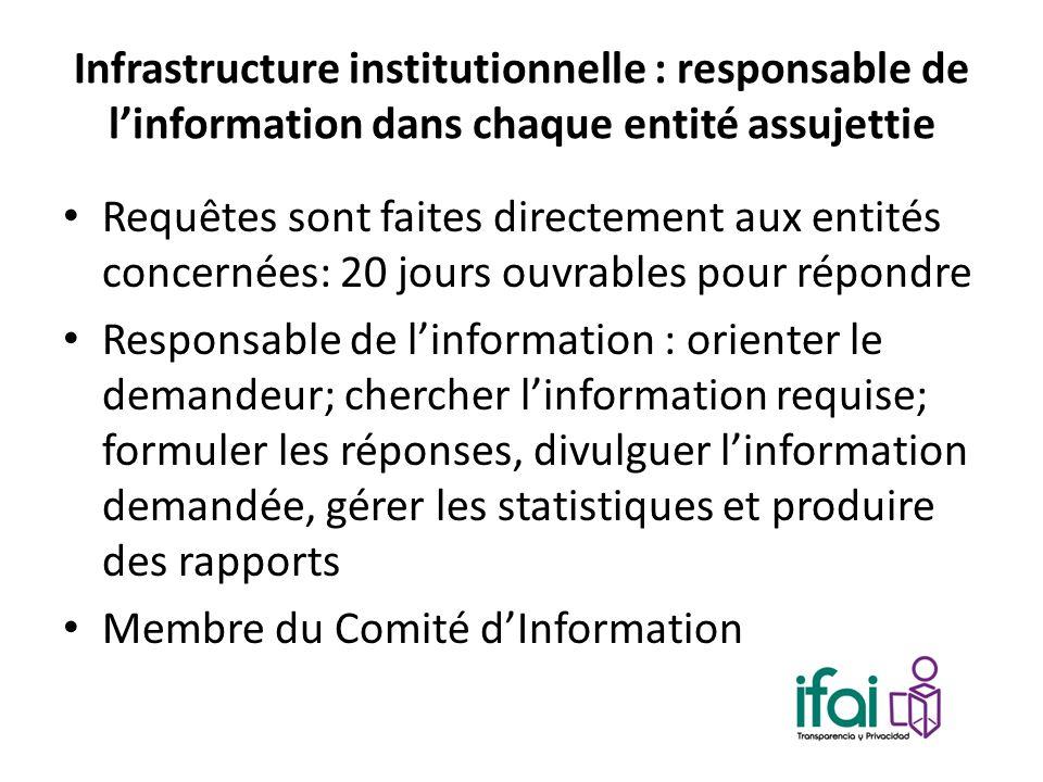 Infrastructure institutionnelle : responsable de linformation dans chaque entité assujettie Requêtes sont faites directement aux entités concernées: 2