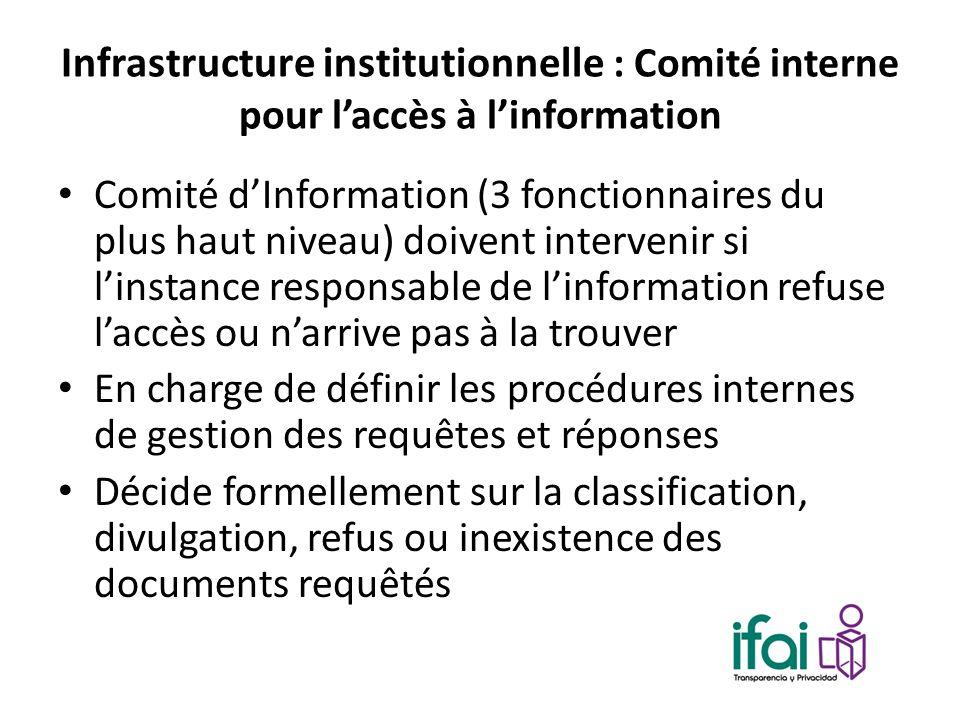 Infrastructure institutionnelle : Comité interne pour laccès à linformation Comité dInformation (3 fonctionnaires du plus haut niveau) doivent interve