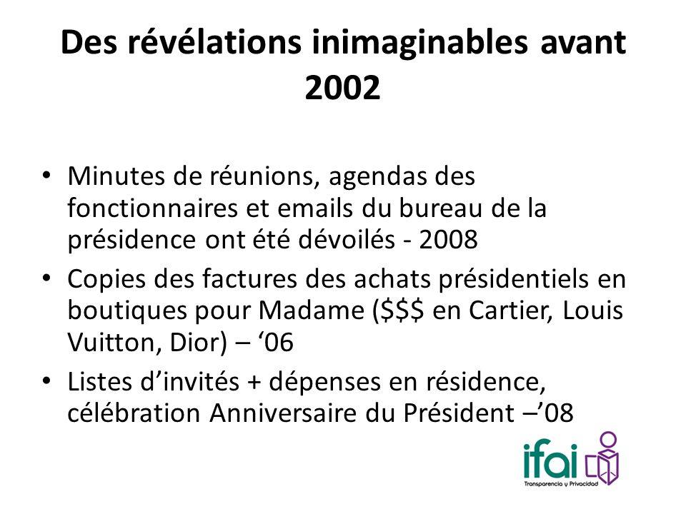 Des révélations inimaginables avant 2002 Minutes de réunions, agendas des fonctionnaires et emails du bureau de la présidence ont été dévoilés - 2008