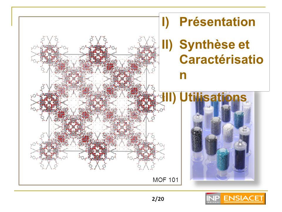 2/20 I)Présentation II)Synthèse et Caractérisatio n III)Utilisations MOF 101