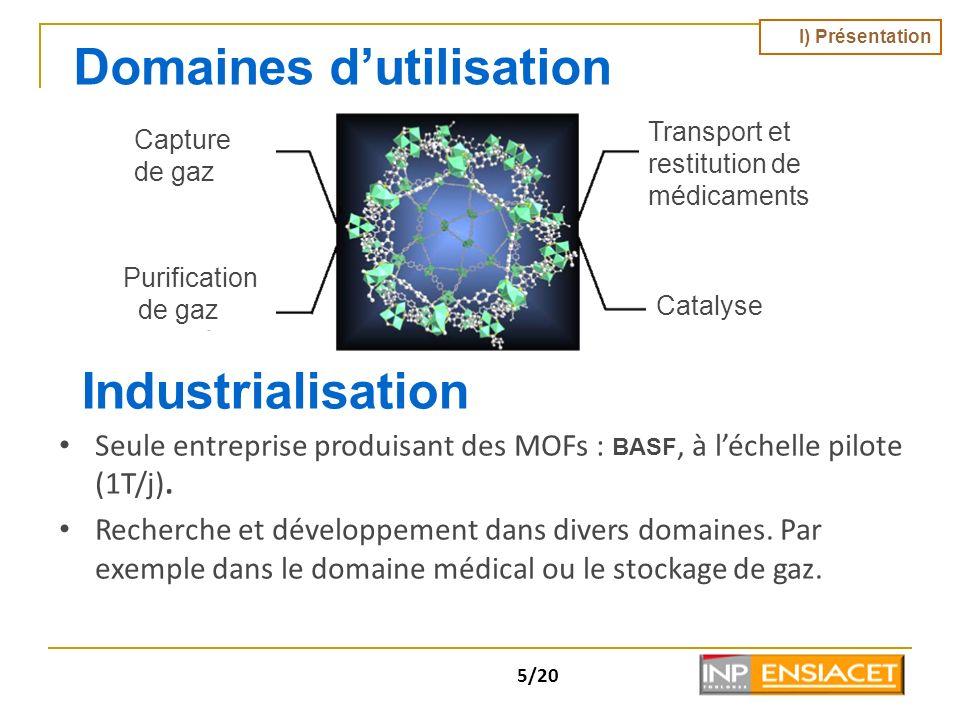 5/20 Domaines dutilisation Industrialisation Seule entreprise produisant des MOFs : BASF, à léchelle pilote (1T/j). Recherche et développement dans di
