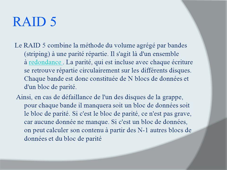 RAID 5 Le RAID 5 combine la méthode du volume agrégé par bandes (striping) à une parité répartie. Il s'agit là d'un ensemble à redondance. La parité,