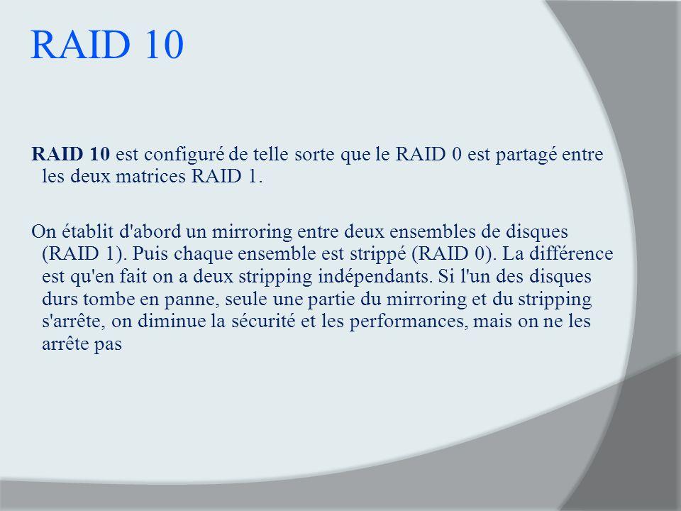 RAID 10 RAID 10 est configuré de telle sorte que le RAID 0 est partagé entre les deux matrices RAID 1. On établit d'abord un mirroring entre deux ense