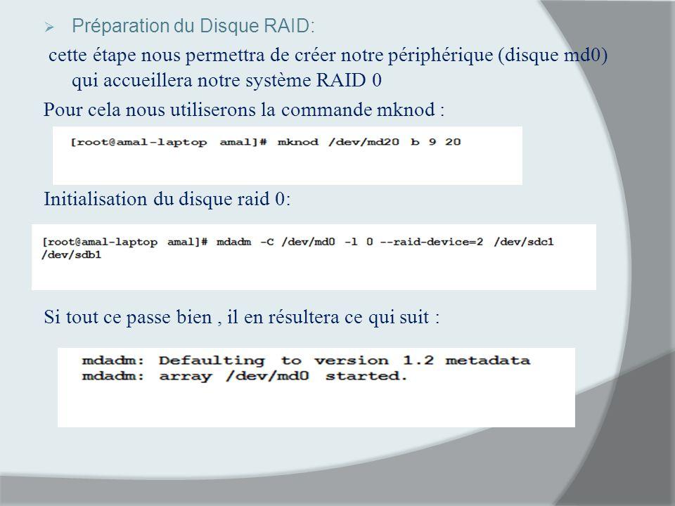 Préparation du Disque RAID: cette étape nous permettra de créer notre périphérique (disque md0) qui accueillera notre système RAID 0 Pour cela nous ut