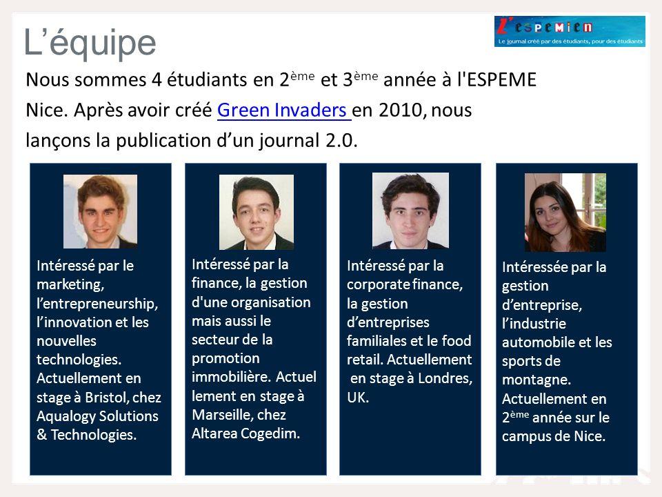 Léquipe Nous sommes 4 étudiants en 2 ème et 3 ème année à l ESPEME Nice.