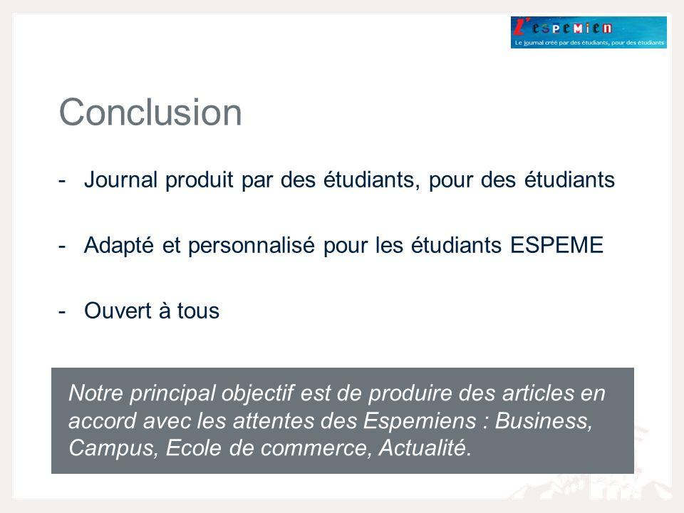 -Journal produit par des étudiants, pour des étudiants -Adapté et personnalisé pour les étudiants ESPEME -Ouvert à tous Conclusion Notre principal objectif est de produire des articles en accord avec les attentes des Espemiens : Business, Campus, Ecole de commerce, Actualité.