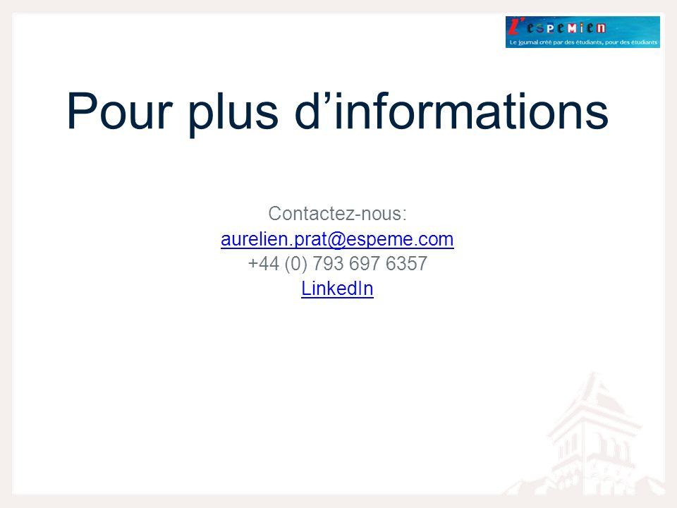Pour plus dinformations Contactez-nous: aurelien.prat@espeme.com +44 (0) 793 697 6357 LinkedIn