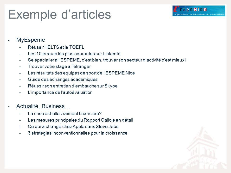 Exemple darticles -MyEspeme -Réussir lIELTS et le TOEFL -Les 10 erreurs les plus courantes sur LinkedIn -Se spécialier a lESPEME, cest bien, trouver son secteur dactivité cest mieux.