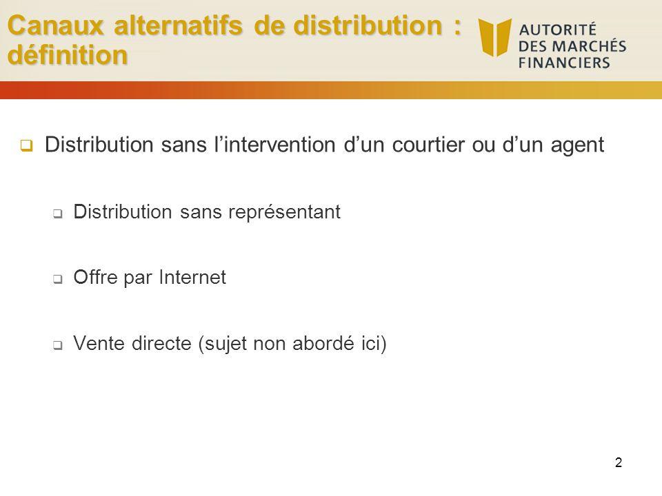 Canaux alternatifs de distribution : définition 2 Distribution sans lintervention dun courtier ou dun agent Distribution sans représentant Offre par Internet Vente directe (sujet non abordé ici)