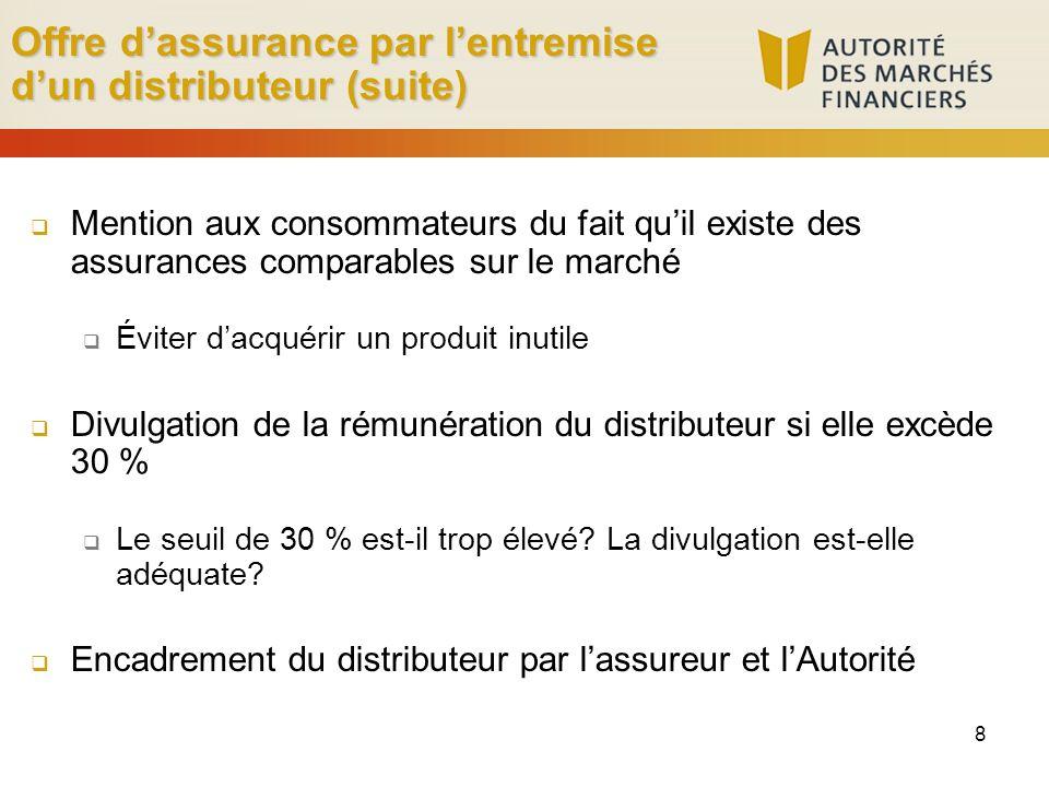 8 Offre dassurance par lentremise dun distributeur (suite) Mention aux consommateurs du fait quil existe des assurances comparables sur le marché Évit