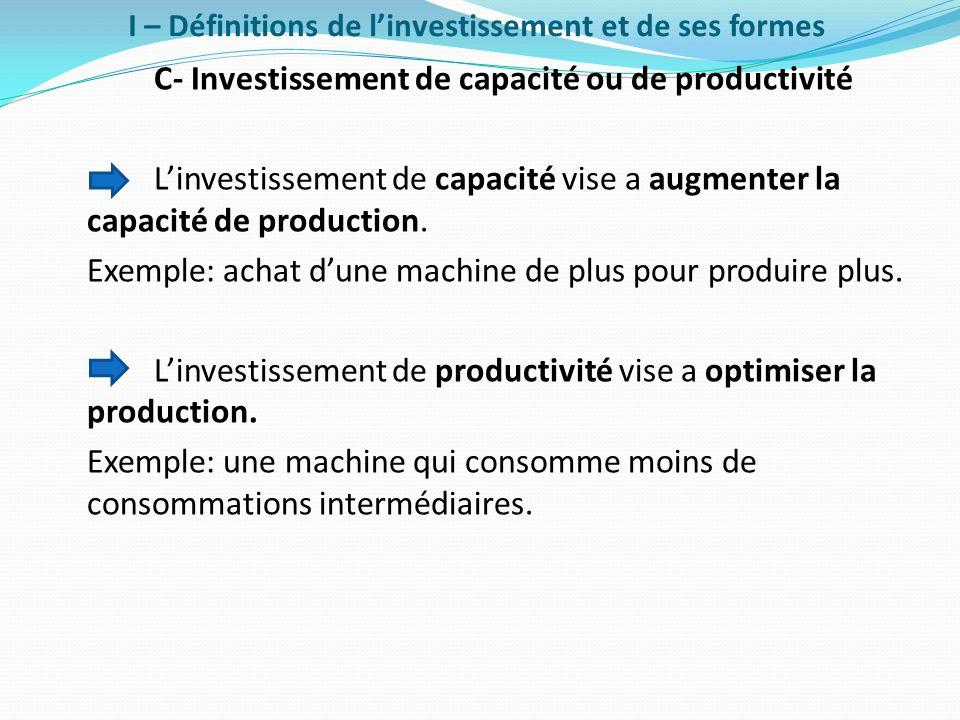I – Définitions de linvestissement et de ses formes C- Investissement de capacité ou de productivité Linvestissement de capacité vise a augmenter la c