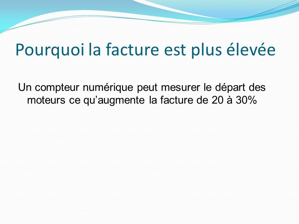 Pourquoi la facture est plus élevée Un compteur numérique peut mesurer le départ des moteurs ce quaugmente la facture de 20 à 30%