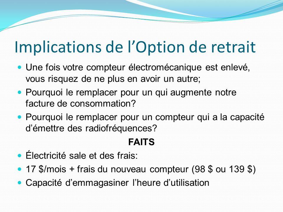 Implications de lOption de retrait Une fois votre compteur électromécanique est enlevé, vous risquez de ne plus en avoir un autre; Pourquoi le remplacer pour un qui augmente notre facture de consommation.