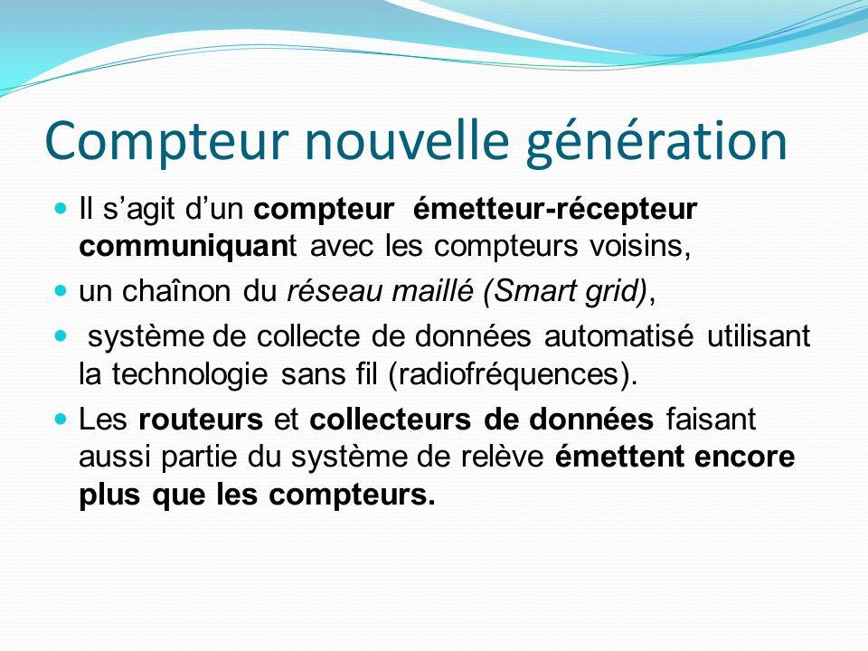 Compteur nouvelle génération Il sagit dun compteur émetteur-récepteur communiquant avec les compteurs voisins, un chaînon du réseau maillé (Smart grid