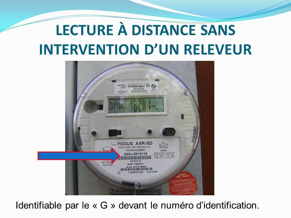 LECTURE À DISTANCE SANS INTERVENTION DUN RELEVEUR Identifiable par le « G » devant le numéro didentification.