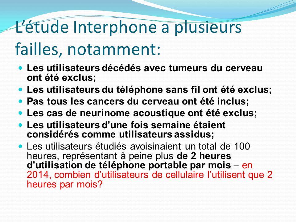 Létude Interphone a plusieurs failles, notamment: Les utilisateurs décédés avec tumeurs du cerveau ont été exclus; Les utilisateurs du téléphone sans fil ont été exclus; Pas tous les cancers du cerveau ont été inclus; Les cas de neurinome acoustique ont été exclus; Les utilisateurs dune fois semaine étaient considérés comme utilisateurs assidus; Les utilisateurs étudiés avoisinaient un total de 100 heures, représentant à peine plus de 2 heures dutilisation de téléphone portable par mois – en 2014, combien dutilisateurs de cellulaire lutilisent que 2 heures par mois?