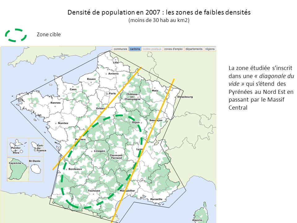 Zone cible Densité de population en 2007 : les zones de faibles densités (moins de 30 hab au km2) La zone étudiée sinscrit dans une « diagonale du vide » qui sétend des Pyrénées au Nord Est en passant par le Massif Central