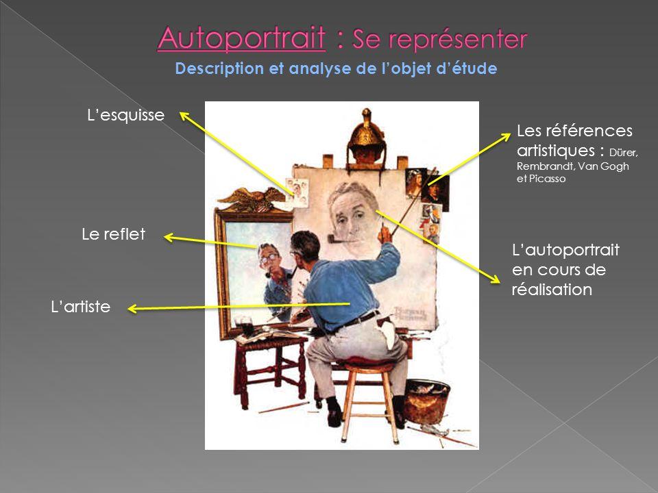 Description et analyse de lobjet détude Les références artistiques : Dürer, Rembrandt, Van Gogh et Picasso Lautoportrait en cours de réalisation Le re