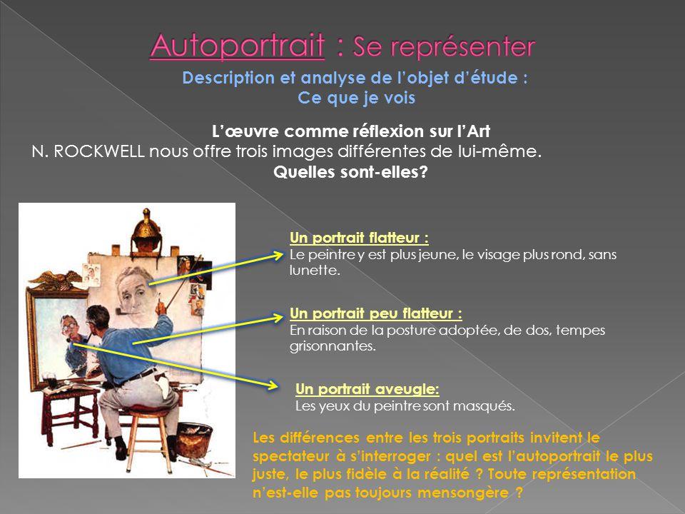 Description et analyse de lobjet détude : Ce que je vois Lœuvre comme réflexion sur lArt N. ROCKWELL nous offre trois images différentes de lui-même.