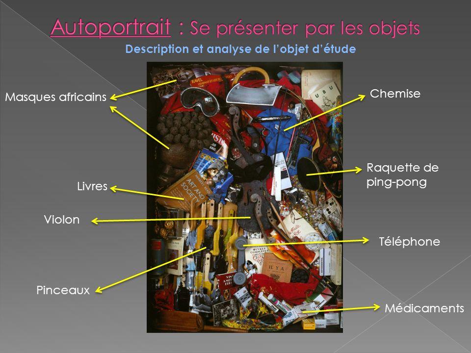 Description et analyse de lobjet détude Chemise Raquette de ping-pong Téléphone Médicaments Masques africains Livres Violon Pinceaux