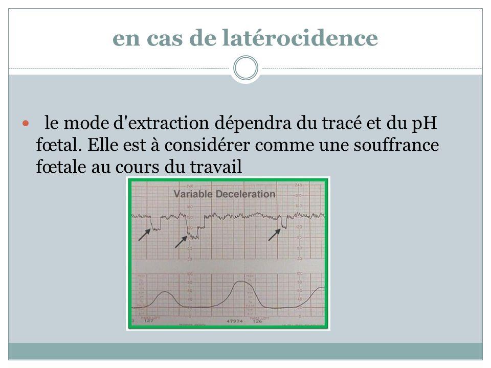 en cas de latérocidence le mode d'extraction dépendra du tracé et du pH fœtal. Elle est à considérer comme une souffrance fœtale au cours du travail