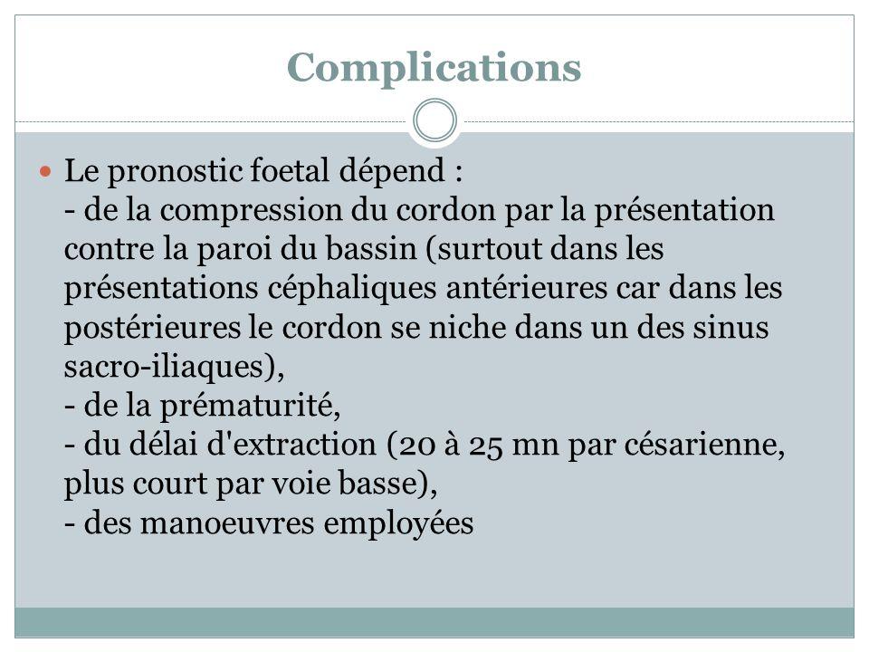 Complications Le pronostic foetal dépend : - de la compression du cordon par la présentation contre la paroi du bassin (surtout dans les présentations