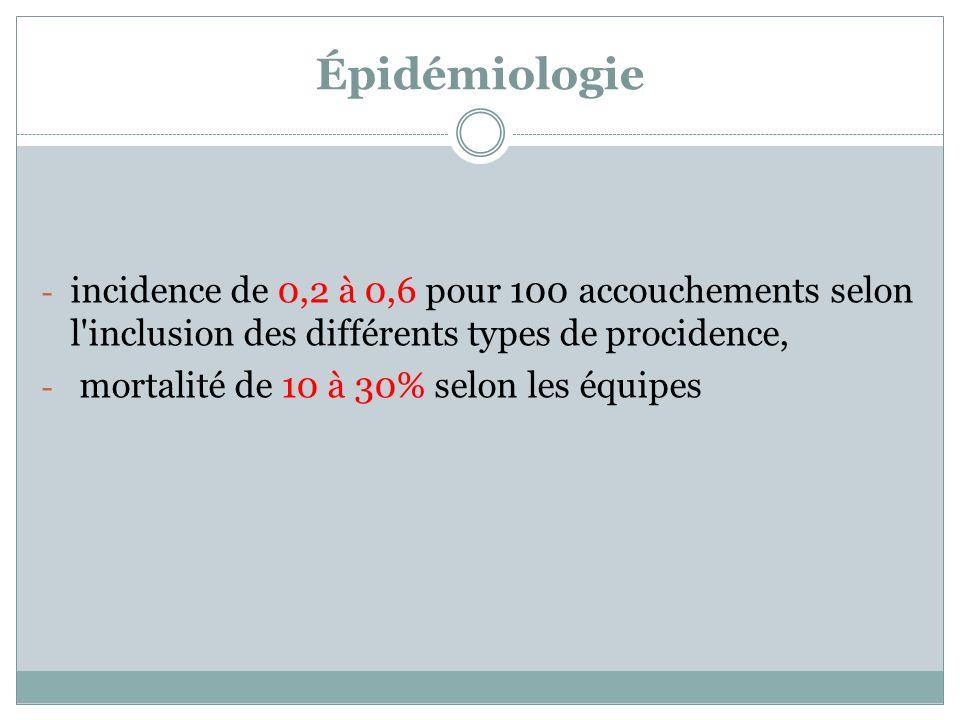 Épidémiologie - incidence de 0,2 à 0,6 pour 100 accouchements selon l'inclusion des différents types de procidence, - mortalité de 10 à 30% selon les