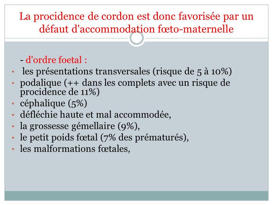 La procidence de cordon est donc favorisée par un défaut d'accommodation fœto-maternelle - d'ordre foetal : les présentations transversales (risque de