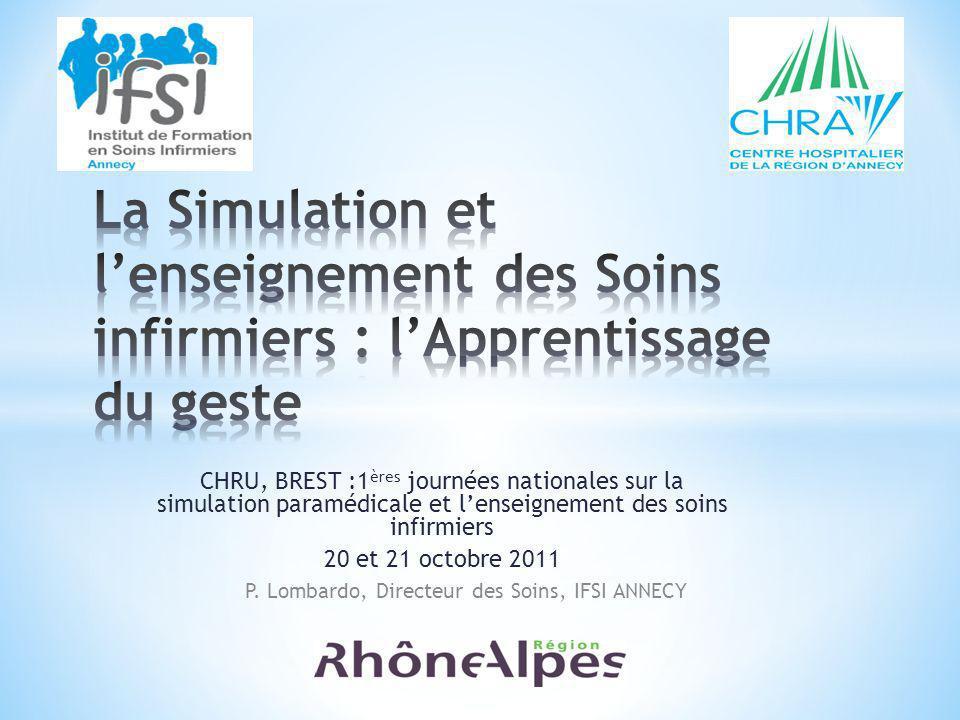 CHRU, BREST :1 ères journées nationales sur la simulation paramédicale et lenseignement des soins infirmiers 20 et 21 octobre 2011 P. Lombardo, Direct