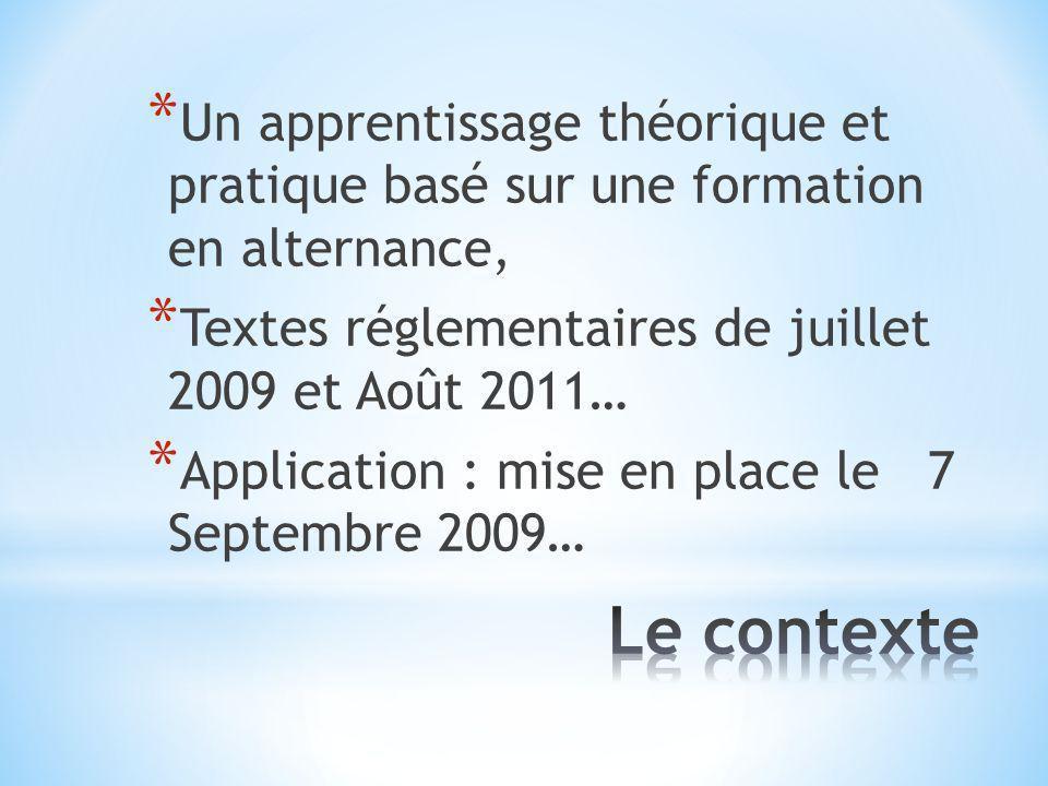 * Un apprentissage théorique et pratique basé sur une formation en alternance, * Textes réglementaires de juillet 2009 et Août 2011… * Application : mise en place le 7 Septembre 2009…