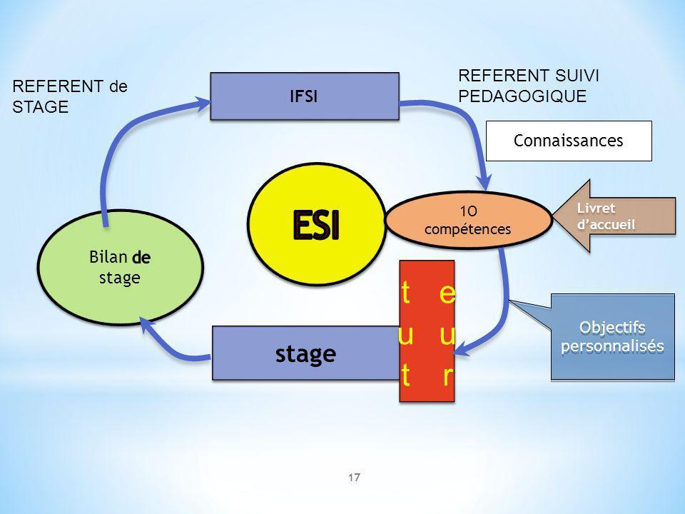 17 IFSI stage 1O compétences 1O compétences Livret daccueil Objectifs personnalisés Objectifs personnalisés REFERENT de STAGE REFERENT SUIVI PEDAGOGIQ