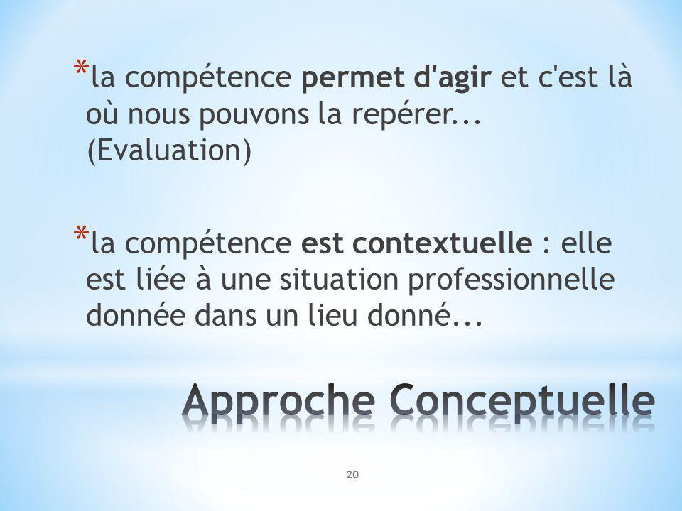 * la compétence permet d'agir et c'est là où nous pouvons la repérer... (Evaluation) * la compétence est contextuelle : elle est liée à une situation