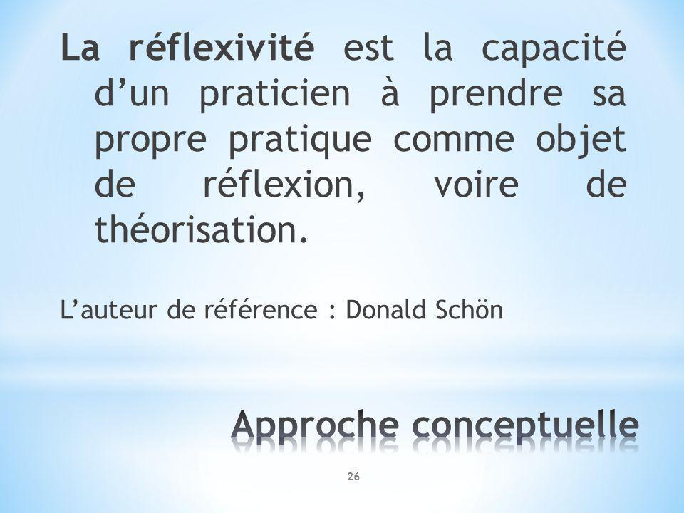 La réflexivité est la capacité dun praticien à prendre sa propre pratique comme objet de réflexion, voire de théorisation.