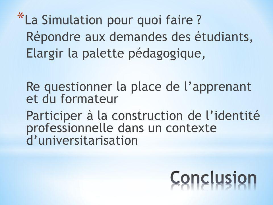 * La Simulation pour quoi faire ? Répondre aux demandes des étudiants,Elargir la palette pédagogique,Re questionner la place de lapprenantet du format