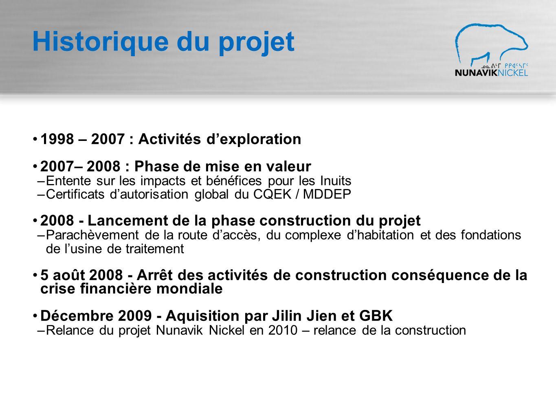 Historique du projet 1998 – 2007 : Activités dexploration 2007– 2008 : Phase de mise en valeur –Entente sur les impacts et bénéfices pour les Inuits –Certificats dautorisation global du CQEK / MDDEP 2008 - Lancement de la phase construction du projet –Parachèvement de la route daccès, du complexe dhabitation et des fondations de lusine de traitement 5 août 2008 - Arrêt des activités de construction conséquence de la crise financière mondiale Décembre 2009 - Aquisition par Jilin Jien et GBK –Relance du projet Nunavik Nickel en 2010 – relance de la construction