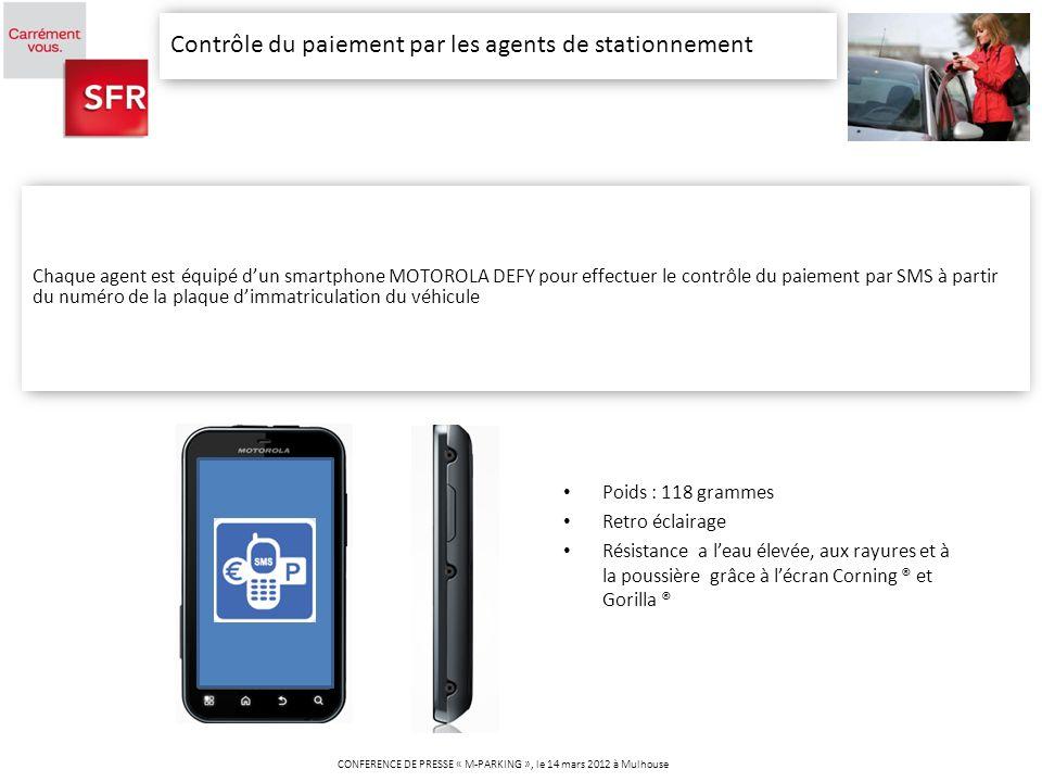 Contrôle du paiement par les agents de stationnement CONFERENCE DE PRESSE « M-PARKING », le 14 mars 2012 à Mulhouse Chaque agent est équipé dun smartp