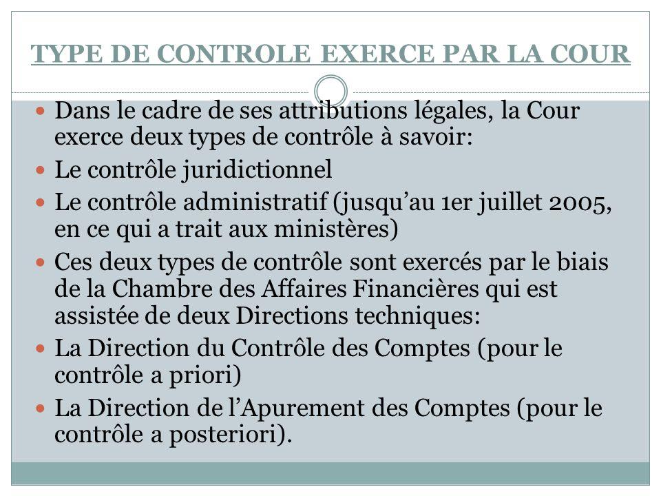 TYPE DE CONTROLE EXERCE PAR LA COUR Dans le cadre de ses attributions légales, la Cour exerce deux types de contrôle à savoir: Le contrôle juridiction