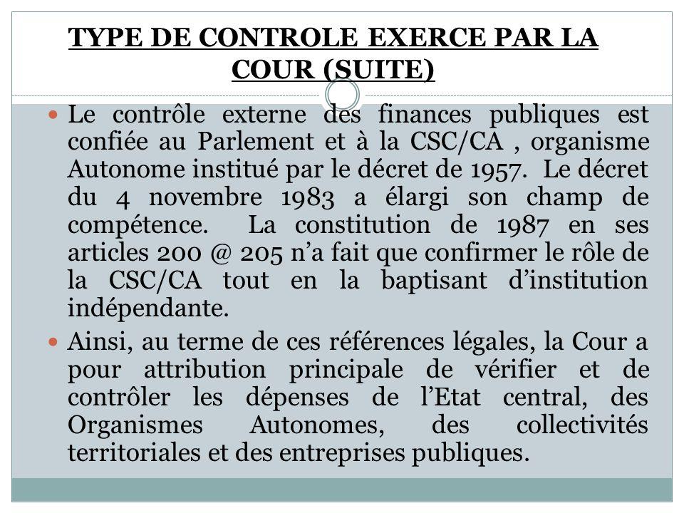 Le contrôle externe des finances publiques est confiée au Parlement et à la CSC/CA, organisme Autonome institué par le décret de 1957. Le décret du 4