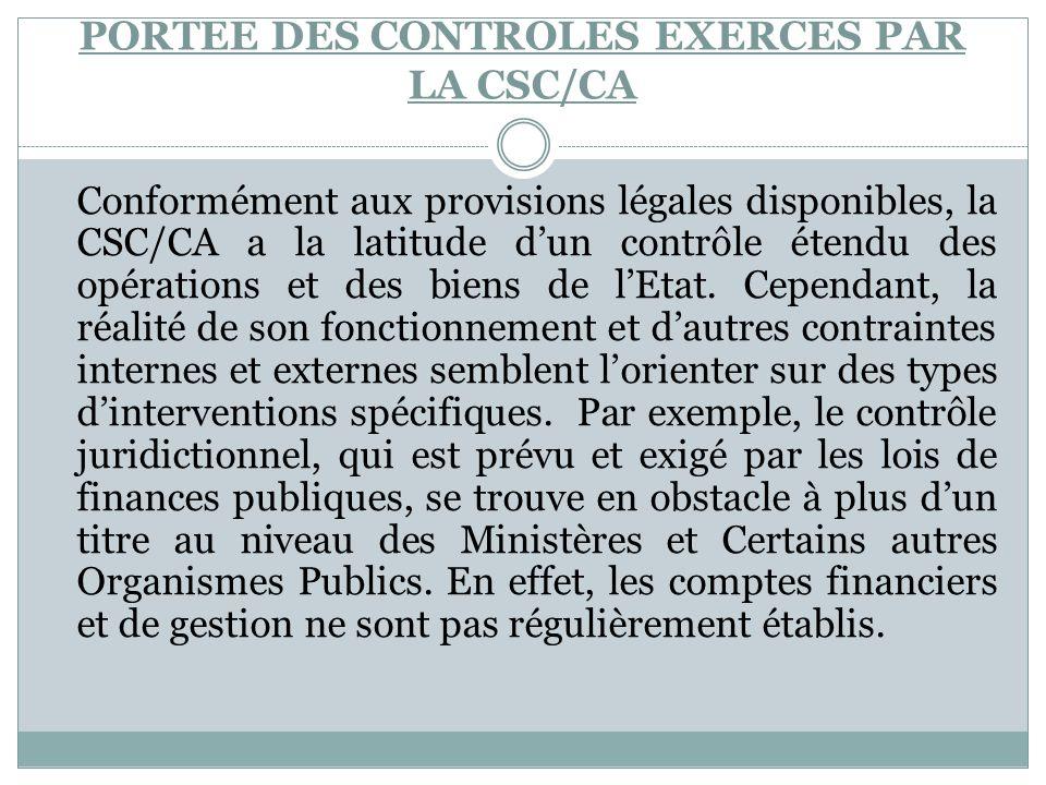 PORTEE DES CONTROLES EXERCES PAR LA CSC/CA Conformément aux provisions légales disponibles, la CSC/CA a la latitude dun contrôle étendu des opérations