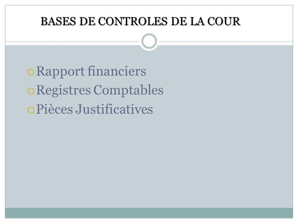 Rejet ou acceptation des propositions dengagements des dépenses Recommandation Engagements ou désengagement de la responsabilité des Comptabilités des comptables de deniers publics.