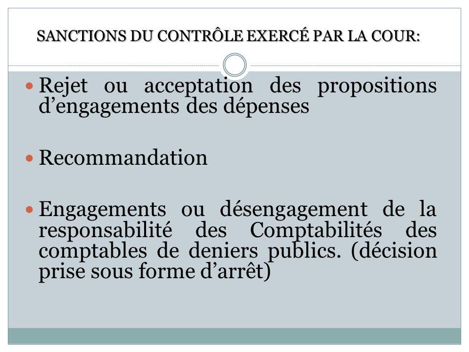 Rejet ou acceptation des propositions dengagements des dépenses Recommandation Engagements ou désengagement de la responsabilité des Comptabilités des