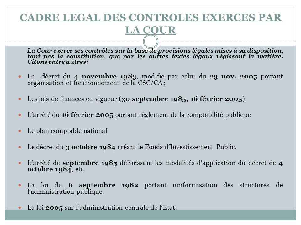 CADRE LEGAL DES CONTROLES EXERCES PAR LA COUR La Cour exerce ses contrôles sur la base de provisions légales mises à sa disposition, tant pas la const