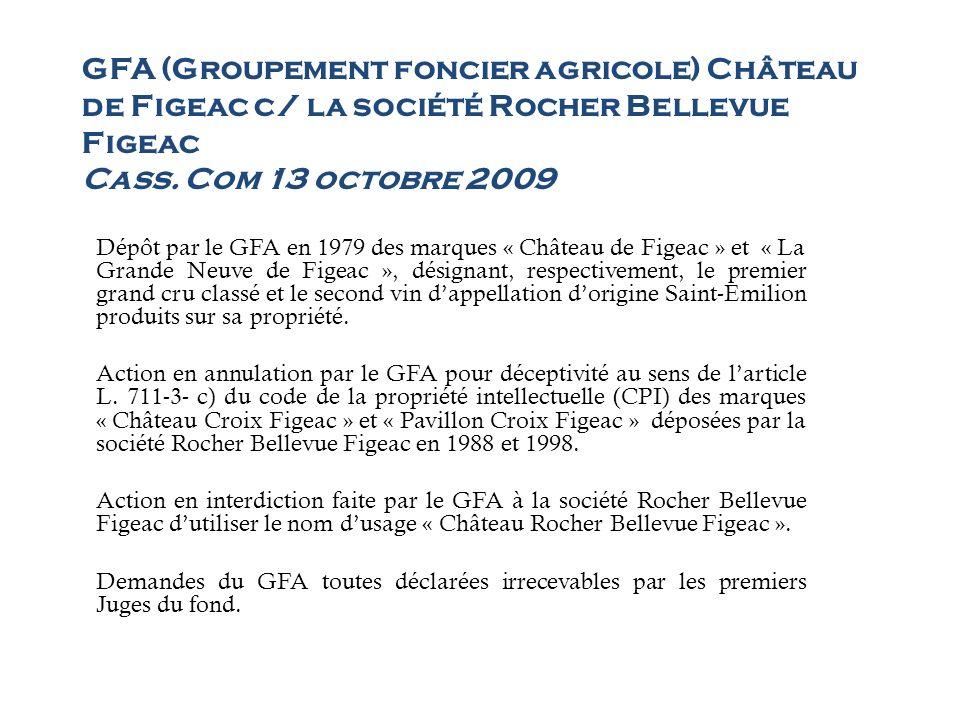 GFA (Groupement foncier agricole) Château de Figeac c/ la société Rocher Bellevue Figeac Cass. Com 13 octobre 2009 Dépôt par le GFA en 1979 des marque