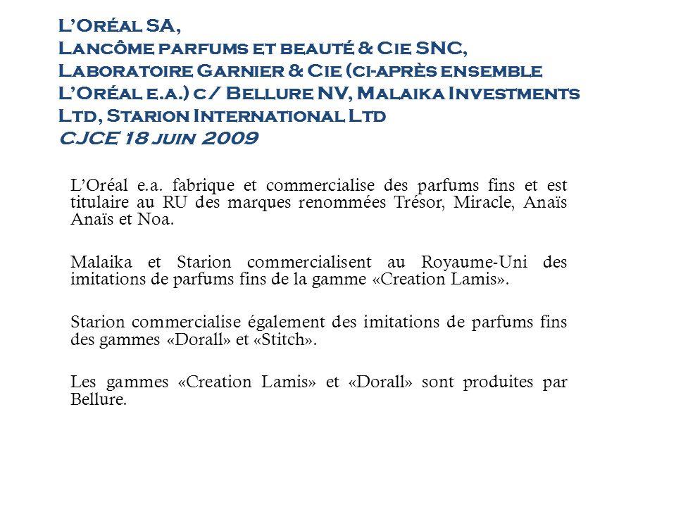 LOréal SA, Lancôme parfums et beauté & Cie SNC, Laboratoire Garnier & Cie (ci-après ensemble LOréal e.a.) c/ Bellure NV, Malaika Investments Ltd, Star