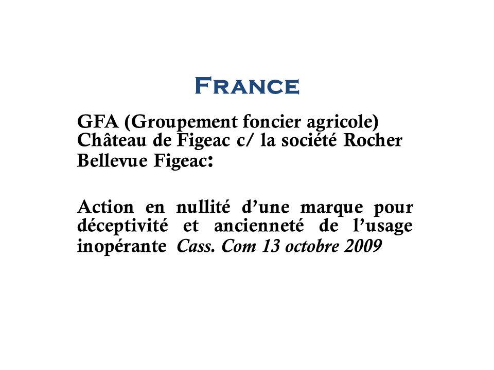 France GFA (Groupement foncier agricole) Château de Figeac c/ la société Rocher Bellevue Figeac : Action en nullité dune marque pour déceptivité et an