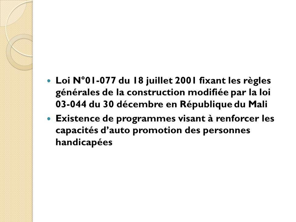 Loi N°01-077 du 18 juillet 2001 fixant les règles générales de la construction modifiée par la loi 03-044 du 30 décembre en République du Mali Existen